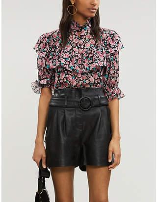 The Kooples Floral-print ruffled silk blouse