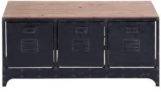 """DecMode 39"""" x 19"""" Brown Metal & Wood Storage Bench w/ 3 File Cabinet Drawers"""