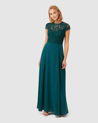 Forever New Macie Cap Sleeve Lace Bodice Gown