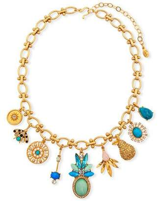 Sequin Multi-Charm Necklace w/ Crystals