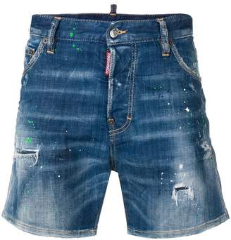 DSQUARED2 paint splatter effect denim shorts