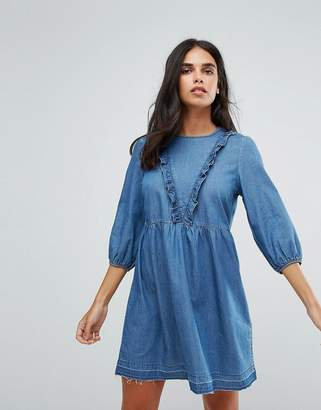 Only Frill Detail Chambray Skater Dress
