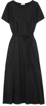 Lemaire Belted Cotton-jersey Midi Dress - Black