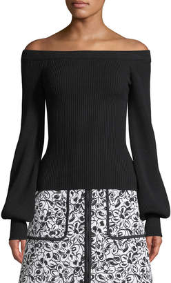 Michael Kors Off-the-Shoulder Blouson-Sleeve Ribbed Wool Top