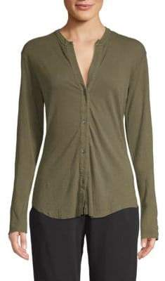 James Perse Linen Jersey Button-Front Top
