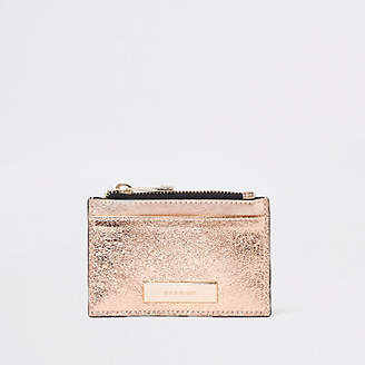 River Island Rose gold metallic zip pouch card holder