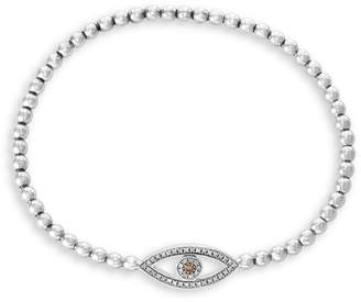 Effy Brown Diamond 925 Sterling Silver and 0.15K Diamond Evil Eye Bracelet
