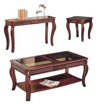 ACME Furniture ACME Overture 3-Piece Pack Coffee/End Table Set, Cherry