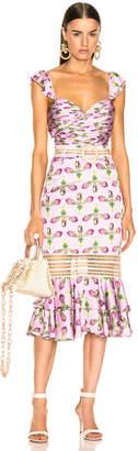 PatBO Jute Trim Cutout Midi Dress in Bright Lilac | FWRD