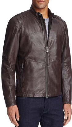 BOSS Green C-Jaikido Moto Leather Jacket $745 thestylecure.com