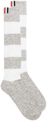 Thom Browne Grey cotton striped socks