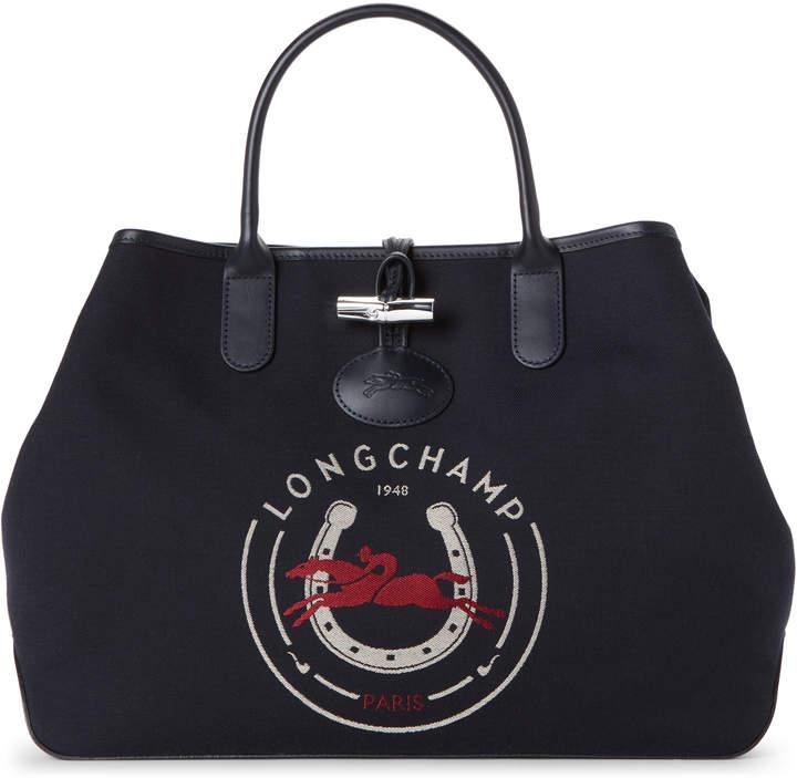 Longchamp Navy Roseau 1948 Logo Tote