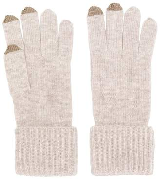N.Peal ribbed gloves with touch screen tips