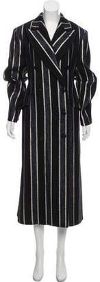Dries Van Noten Wool Long Striped Coat