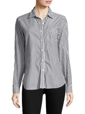 Stateside Raw Edge Oxford Casual Cotton Button-Down Shirt