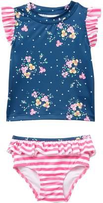Tucker + Tate Harper Canyon Ruffle Rashguard Swimsuit Set (Baby Girls)