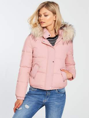 V by Very Petite Faux Fur Hooded Padded Coat - Blush