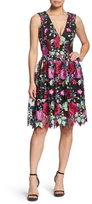 Dress the Population Rita Plunge Neck Lace Dress