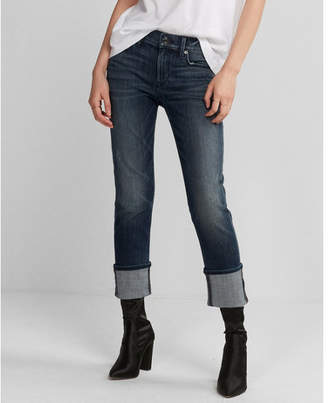 Express mid rise stretch cuffed cropped skinny jeans