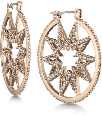 Marchesa Gold-Tone Pavé Starburst Hoop Earrings