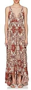 L'Agence WOMEN'S ROSALINA PLEATED SILK DRESS-WINE SIZE 8