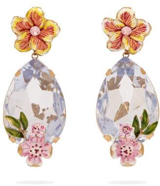 Dolce & Gabbana Crystal And Floral Embellished Earrings - Womens - Blue