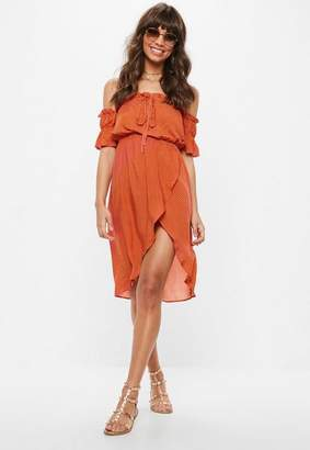 Missguided Orange Bardot Polka Dot Midi Dress
