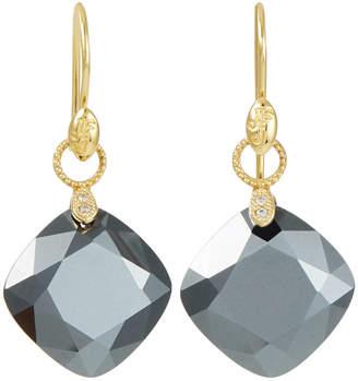 Jude Frances 18K Gold Lisse Cushion Silhouette Earrings, Hematite