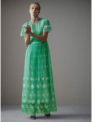 Burberry Embroidered Tulle Gathered Dress