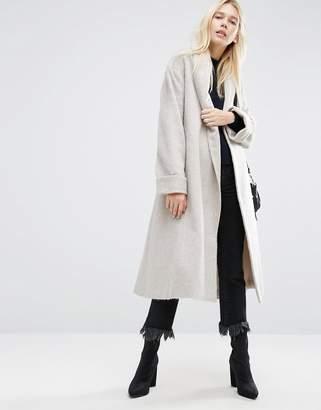 Asos Design Coat in Soft Texture with Belt