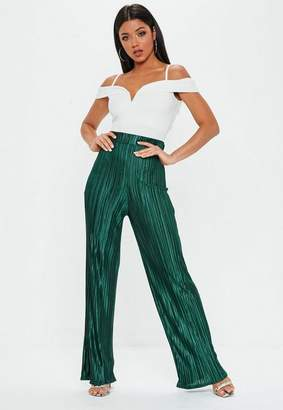 Missguided Emerald green Plisse Wide Leg Trousers