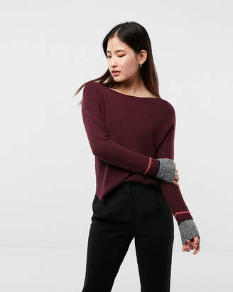 Express Marl Tipped Shirttail Hem Sweater