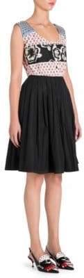 Prada Studded Shoulder Poplin A-Line Dress
