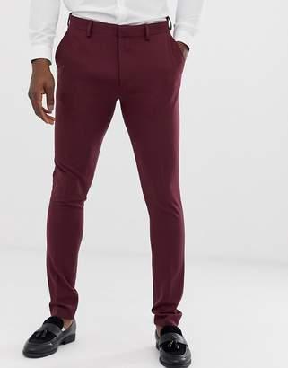 Asos Design DESIGN super skinny suit pants in burgundy