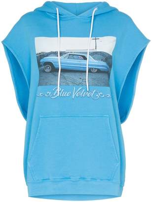 Adaptation Blue Velvet print sleeveless cotton hoodie