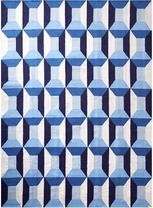 Blue Lorenzo Reversible Peruvian Flat Weave Rug