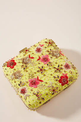 Anthropologie Whimiscal Garden Beaded Square Clutch