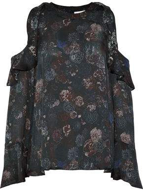 IRO Cold-Shoulder Ruffled Floral-Print Silk-Satin Blouse