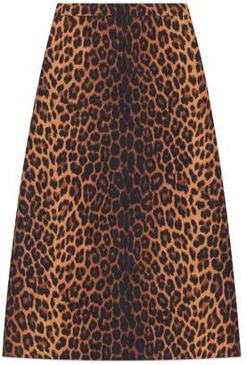 ed0c5d3b3 Gucci Leopard print wool pencil skirt