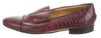 Lanvin Embossed Pointed-Toe Loafers