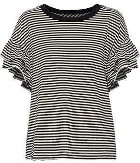 Current/Elliott The Carina Ruffle-Trimmed Striped Jersey Top