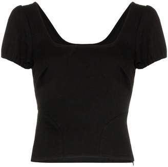 Blend of America Miaou Kelly square neck cropped cotton top