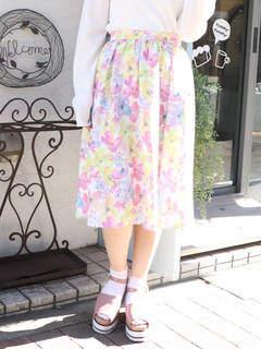 dazzlin (ダズリン) - 【sw】水彩フラワーミディスカート