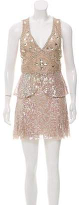 Anna Sui Sequin Embellished Dress Beige Sequin Embellished Dress