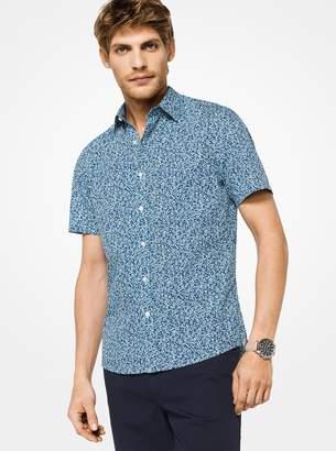 Michael Kors Slim-Fit Botanical Stretch-Cotton Shirt