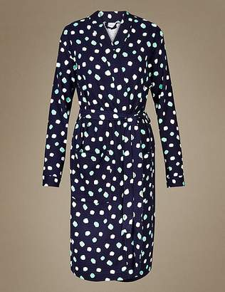 Marks and Spencer Pure Cotton Spot Print Waffle Dressing Gown