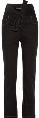 Y/PROJECT - Tie-front High-rise Straight-leg Jeans - Black