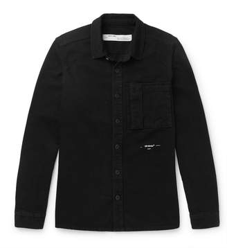 Off-White Off White Logo-Print Denim Overshirt - Men - Black