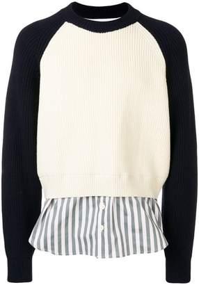 Sunnei contrast shirt-hem sweater