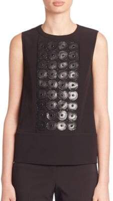 Piazza Sempione Leather & Bead Embroidered Sleeveless Top